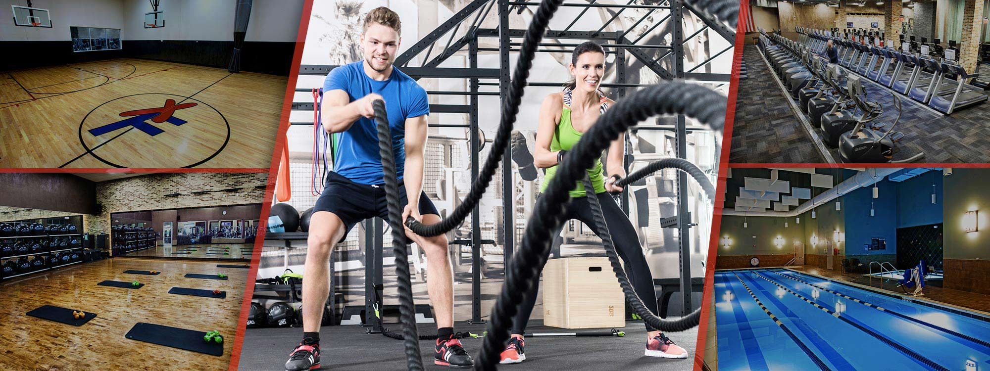xsport club photos with couple doing battle rope workout