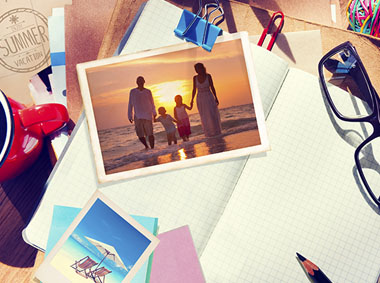 scrapbooking image with family walking towards sunset