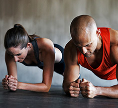 couple doing plank