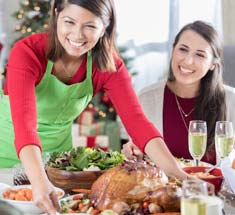 Woman serving a holiday meal
