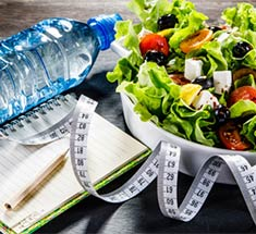 water bottle and salad